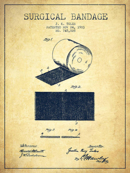 Wall Art - Digital Art - Surgical Bandage Patent From 1903- Vintage by Aged Pixel