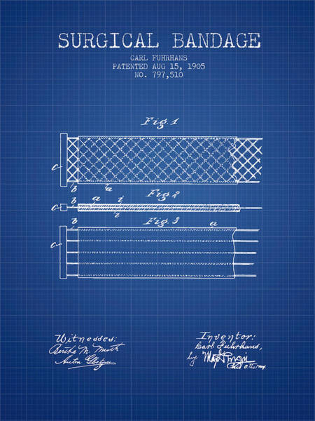 Bandage Wall Art - Digital Art - Surgical Bandage Patent From 1905- Blueprint by Aged Pixel