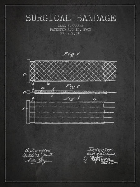 Bandage Wall Art - Digital Art - Surgical Bandage Patent From 1905- Charcoal by Aged Pixel