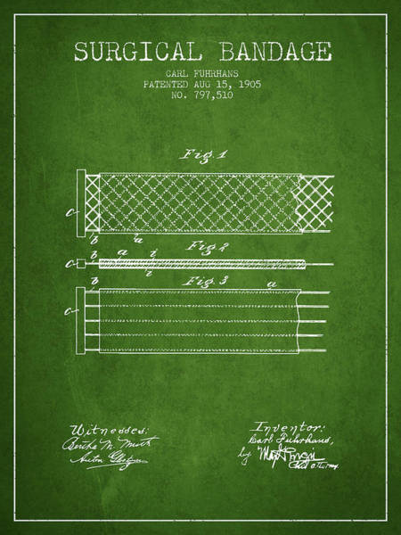 Bandage Wall Art - Digital Art - Surgical Bandage Patent From 1905- Green by Aged Pixel