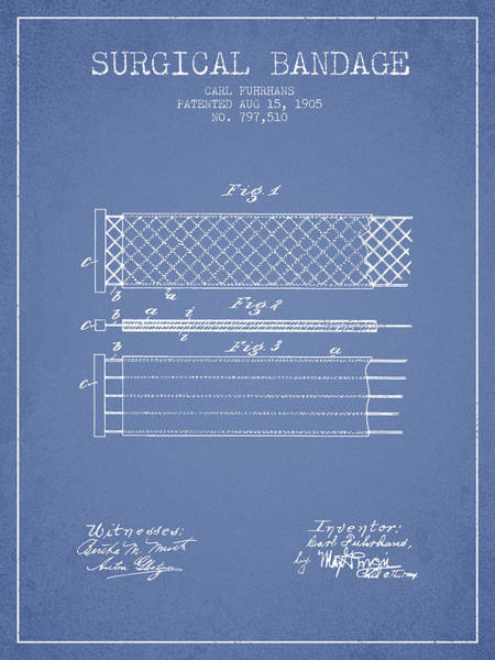 Bandage Wall Art - Digital Art - Surgical Bandage Patent From 1905- Light Blue by Aged Pixel