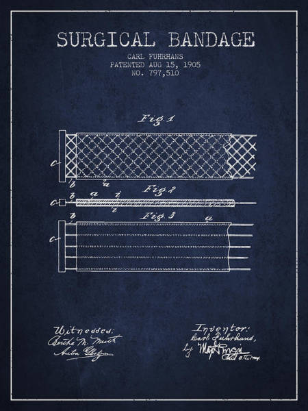 Bandage Wall Art - Digital Art - Surgical Bandage Patent From 1905- Navy Blue by Aged Pixel