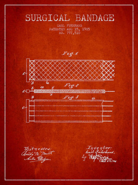 Bandage Wall Art - Digital Art - Surgical Bandage Patent From 1905- Red by Aged Pixel