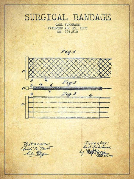 Bandage Wall Art - Digital Art - Surgical Bandage Patent From 1905- Vintage by Aged Pixel