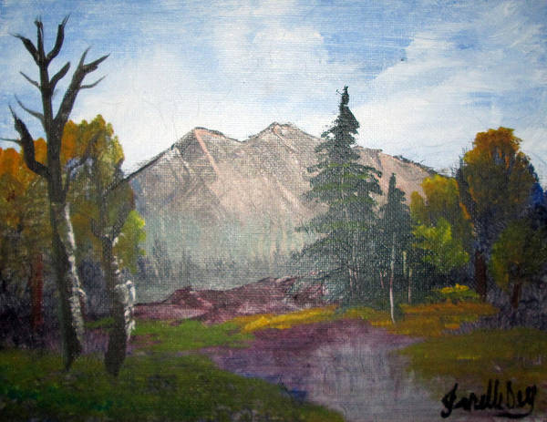 Painting - Mountain Pond  By Janelle Dey by Janelle Dey
