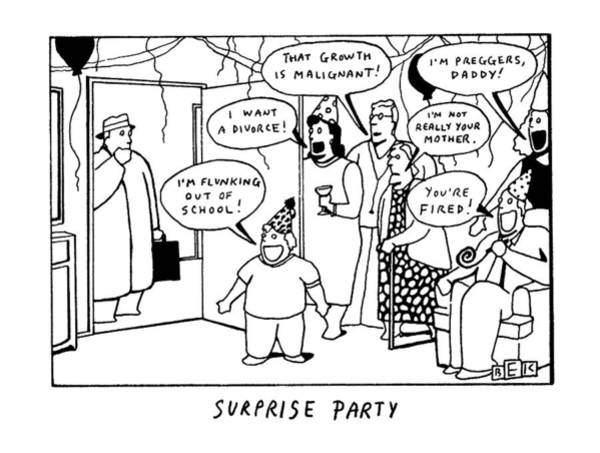 Depression Drawing - Surprise Party by Bruce Eric Kaplan
