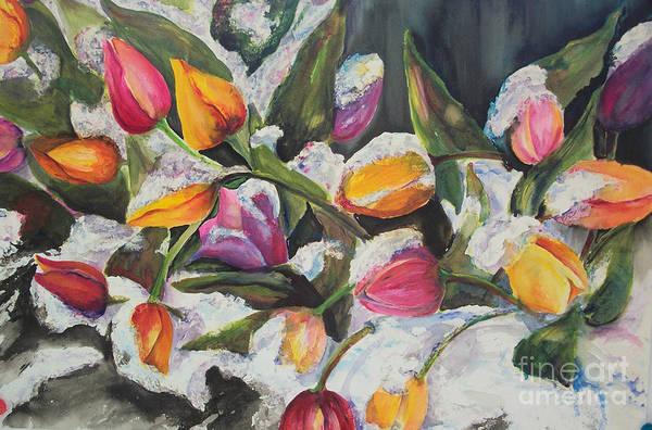 Painting - Surprise Spring Snow by Carol Losinski Naylor