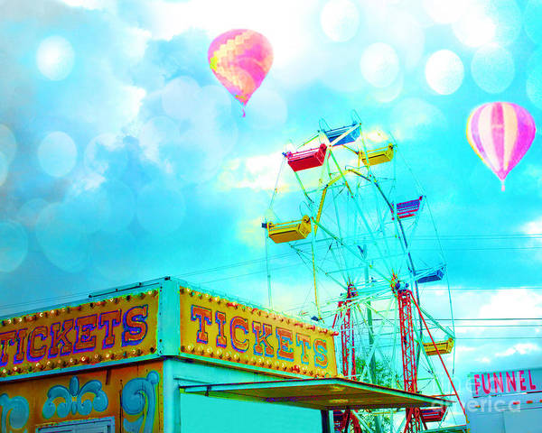 Neon Pink Photograph - Surreal Aqua Teal Carnival Tickets Booth With Ferris Wheel And Hot Air Balloons - Carnival Fair Art by Kathy Fornal