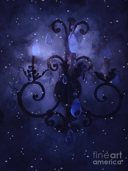 Wall Art - Photograph - Surreal Blue Purple Chandelier Night Against Starry Blue Sky - Fantasy Blue Chandelier Art by Kathy Fornal