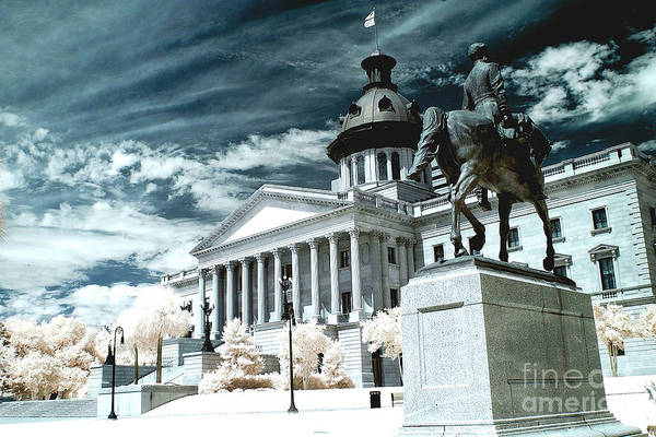 Infrared Photograph - Surreal Columbia South Carolina State House - Statue Monuments by Kathy Fornal
