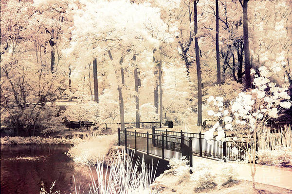 Infrared Photograph - Surreal Dreamy Infrared Nature Bridge Landscape - Autumn Fall Infrared by Kathy Fornal