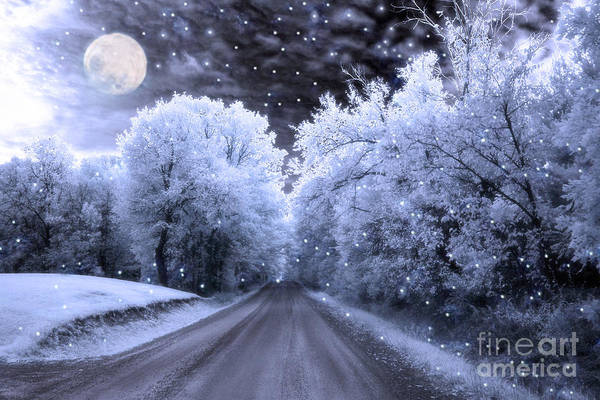 Moon And Stars Wall Art - Photograph - Blue Moon Full Moon Surreal Fantasy Fairytale Blue Moon Stars Nature Winter Landscape by Kathy Fornal