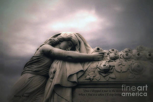 Cemeteries Photograph - Surreal Gothic Sad Angel Cemetery Mourner - Inspirational Angel Art by Kathy Fornal