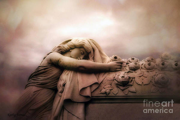 Angelic Photograph - Surreal Gothic Sad Angel Female Cemetery Mourner At Rose Casket Coffin - Haunting Surreal Grave Art by Kathy Fornal