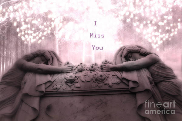 Across Photograph - Surreal Gothic Sad Angels Cemetery Mourners At Grave - I Miss You by Kathy Fornal