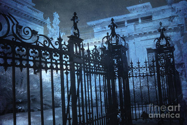 Iron Photograph - Surreal Gothic Savannah Mansion Black Rod Iron Gates by Kathy Fornal