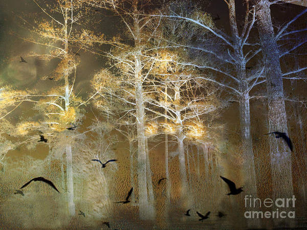 Bird In Tree Photograph - Surreal Haunting Fantasy Nature With Flying Ravens by Kathy Fornal