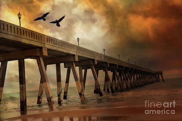 Wrightsville Beach Wall Art - Photograph - Surreal Haunting Fishing Pier Ocean Coastal - North Carolina Coast Pier  by Kathy Fornal