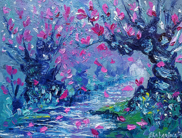 Painting - Surreal Landscape Art Pink Flower Tree Painting By Ekaterina Chernova by Ekaterina Chernova