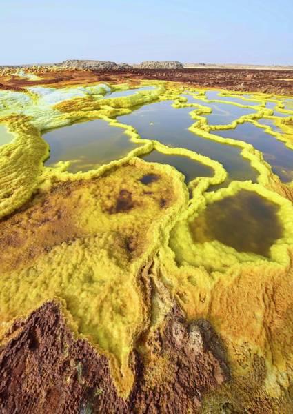 Lava Lakes Photograph - Surreal Landscape, Dallol, Dankil by Dave Stamboulis Travel Photography
