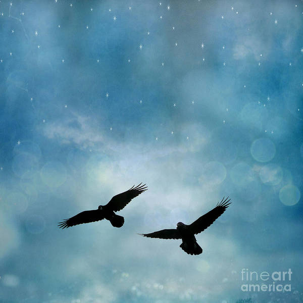Crow Photograph - Surreal Ravens Crows Flying Blue Sky Stars by Kathy Fornal