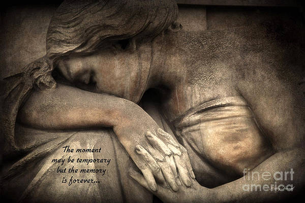 Ethereal Photograph - Surreal Sad Angel Cemetery Mourners At Grave With Inspirational Message Of Memories by Kathy Fornal