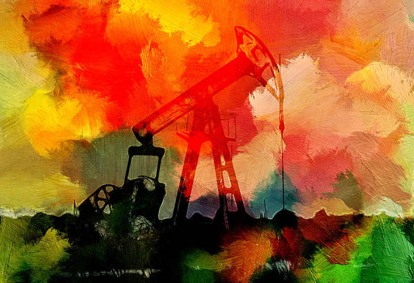 Oil Well Painting - Surreal Texas Oil Well by Steve K