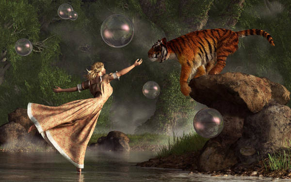 Digital Art - Surreal Tiger Bubble Waterdancer Dream by Daniel Eskridge