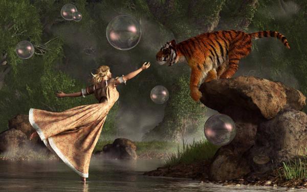 Digital Art - Surreal Tiger Bubble Waterdancer Dream by Daniel Eskridge