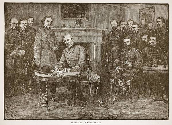 Fireplace Drawing - Surrender Of General Lee by Alfred R Waud