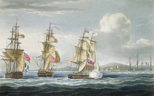 Warfare Drawing - Surrender Of The Fort Of Tamatave by Thomas Whitcombe