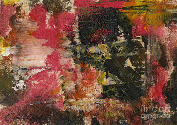 Atc Painting - Surrounded By Pink Ice. Abstract Series Aceo by Cathy Peterson