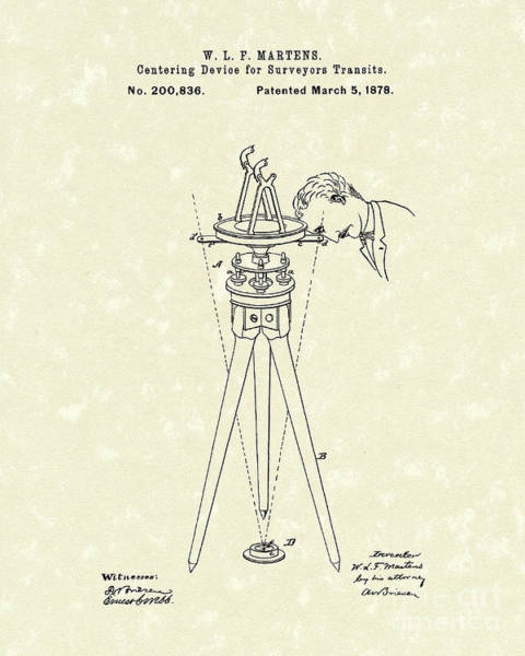 Drawing - Surveyers Device 1878 Patent Art by Prior Art Design