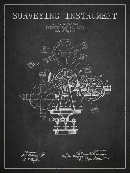 Wall Art - Digital Art - Surveying Instrument Patent From 1901 - Charcoal by Aged Pixel