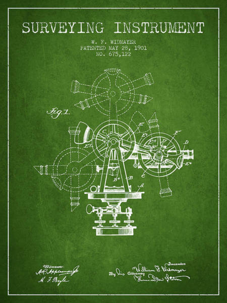 Wall Art - Digital Art - Surveying Instrument Patent From 1901 - Green by Aged Pixel