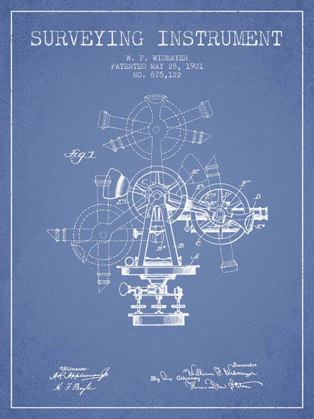 Wall Art - Digital Art - Surveying Instrument Patent From 1901 - Light Blue by Aged Pixel