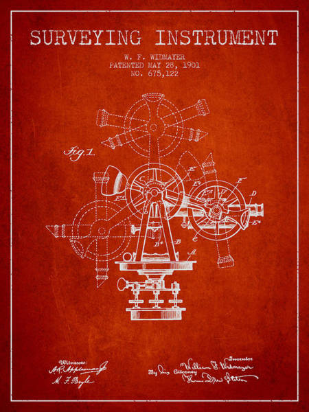 Wall Art - Digital Art - Surveying Instrument Patent From 1901 - Red by Aged Pixel