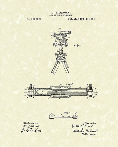 Drawing - Surveyor's Transit 1891 Patent Art by Prior Art Design