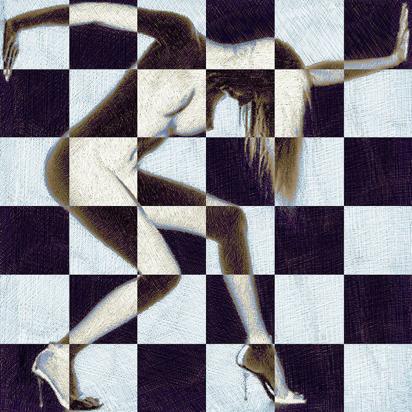 Painting - Survive Nude Woman Checkered 2 by Tony Rubino