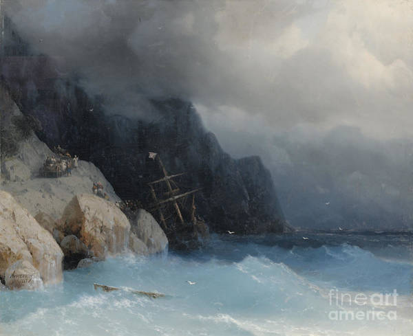 Wall Art - Painting - Survivors Of A Shipwreck On A Rocky Path  by Viktor Birkus