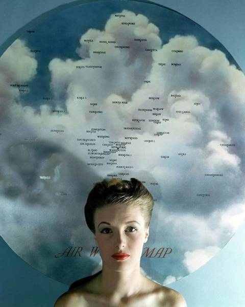 Blue Photograph - Susan Shaw In Front Of An Azimuthal Map by John Rawlings