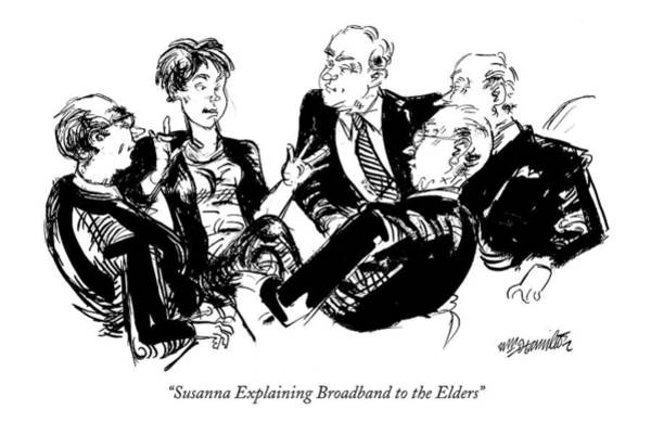 Parody Drawing - Susanna Explaining Broadband To The Elders by William Hamilton