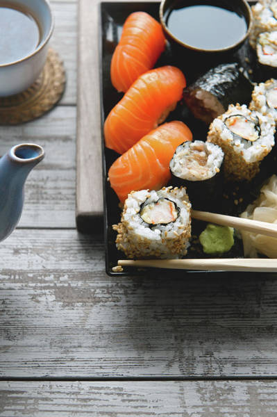 Healthy Lifestyle Photograph - Sushi And Tea by A.y. Photography