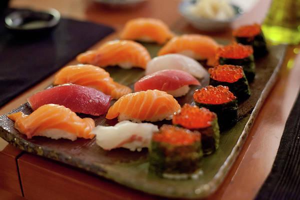 Tray Photograph - Sushi Plate With Salmon by Alexandre Tremblot De La Croix
