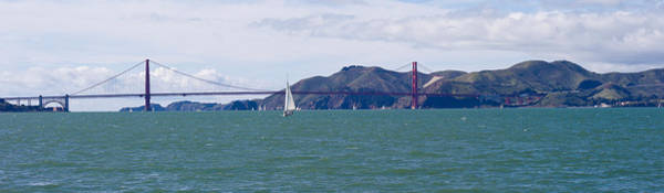 Marin Headlands Photograph - Suspension Bridge With A Mountain Range by Panoramic Images