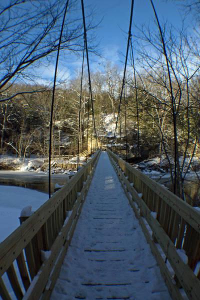 Rockville Photograph - Suspension Bridge With Snow by Jamie Kaus