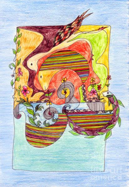 Oahu Drawing - Sustainable Fish Pond by Mukta Gupta