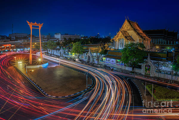 Wat Suthat Photograph - Suthat Temple And The Giant Swing by Anek Suwannaphoom