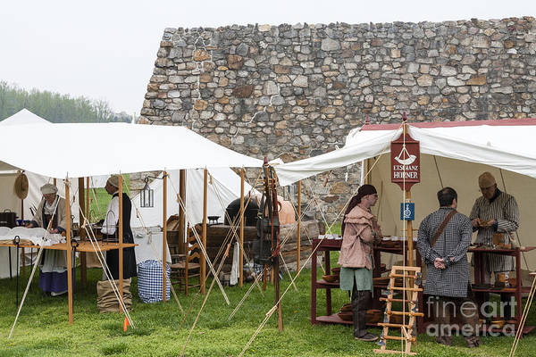 Photograph - Sutlers Booths At The Market Fair At An Eighteenth Century Fort In Maryland. by William Kuta