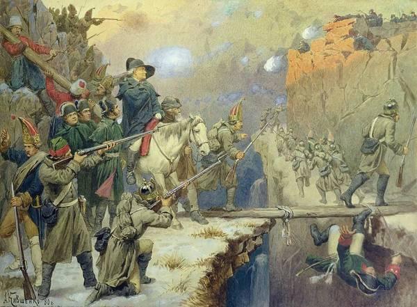 Crevice Photograph - Suvorov Crossing The Devils Bridge In 1799, 1880 Wc On Paper by Aleksei Danilovich Kivshenko